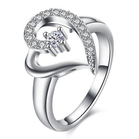 Fashion Rhinestone Heart Ring - 7 SILVER Mobile