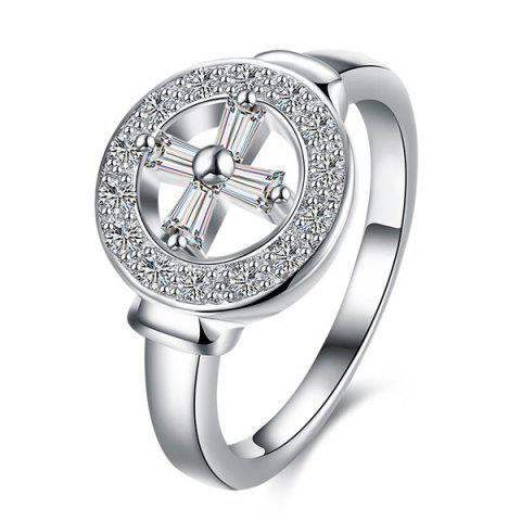 Cheap Rhinestone Crucifix Circle Ring