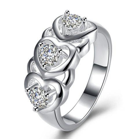 Rhinestone Engraved Heart Ring - SILVER 8