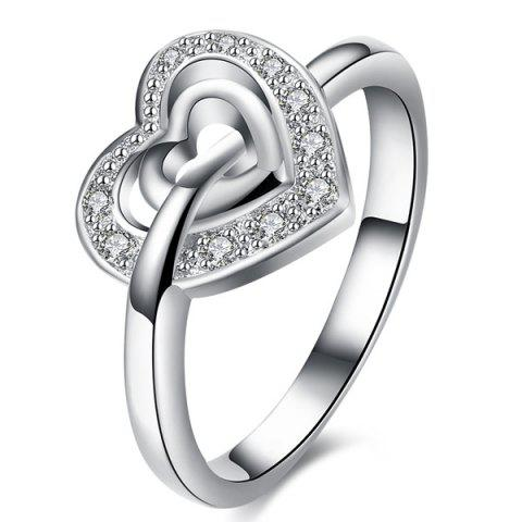 Trendy Rhinestone Double Heart Ring