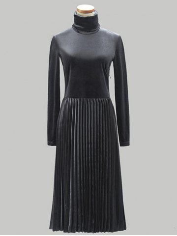 Buy Turtle Neck Pleated Dress