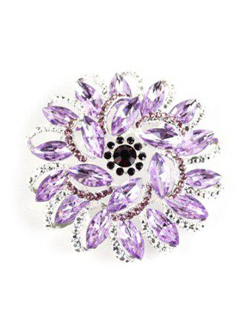 Affordable Rhinestone Flower Brooch - PURPLE  Mobile