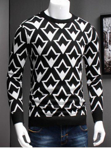 Chic Plus Size Geometric Graphic Long Sleeve Sweater WHITE 5XL