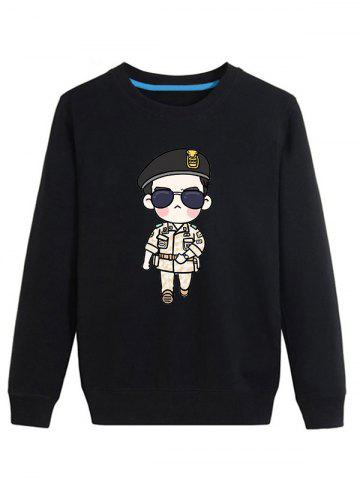 Cartoon Soldier Print Crew Neck Long Sleeve Sweatshirt