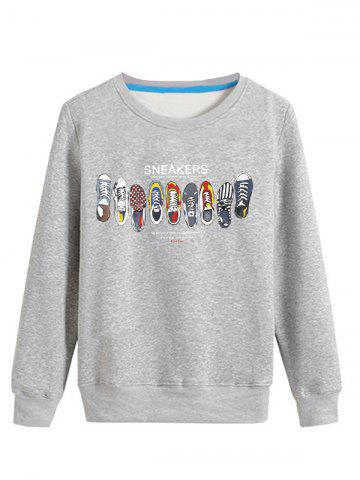 Trendy Cartoon Sneakers Print Crew Neck Long Sleeve Sweatshirt