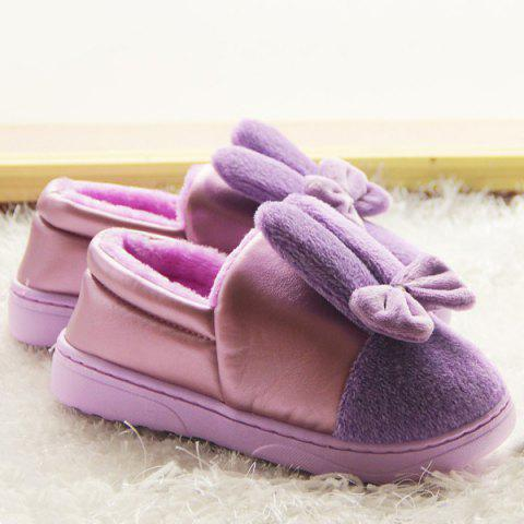 Cheap Bowknot House Fur Slippers