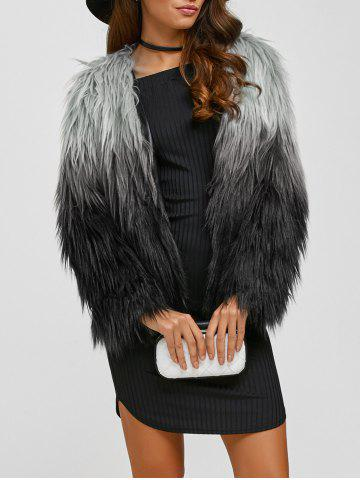 New Collarless Ombre Faux Fur Coat