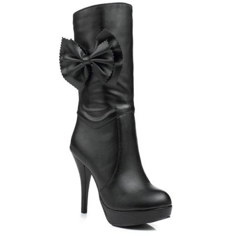 Shop Bowknot PU Leather High Heel Boots