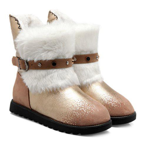 Fancy Suede Panel Buckle Strap Fuzzy Snow Boots