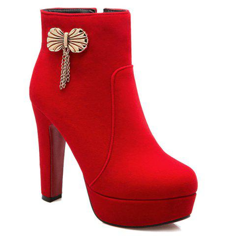 Latest Metal Bow Chunky Heel Ankle Boots