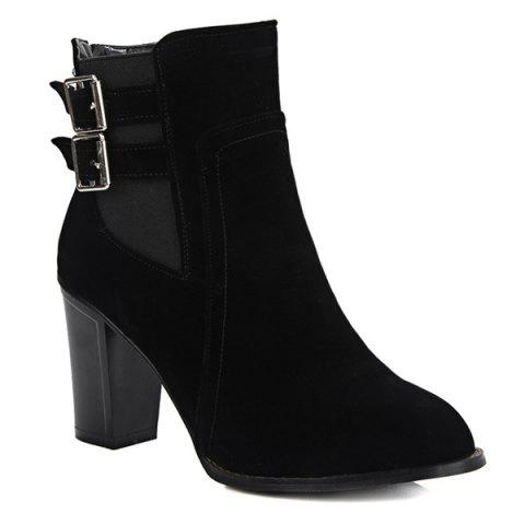 Unique Chunky Heel Double Buckles Short Boots BLACK 39
