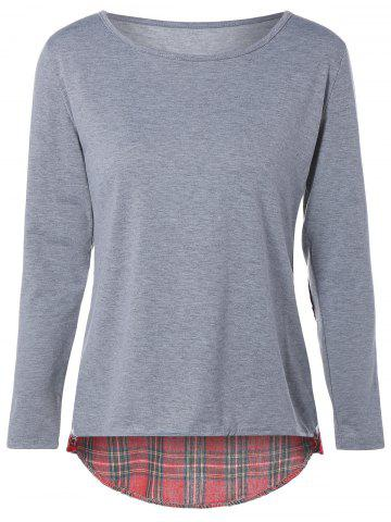 New Tartan Elbow Patch T-Shirt FROST L
