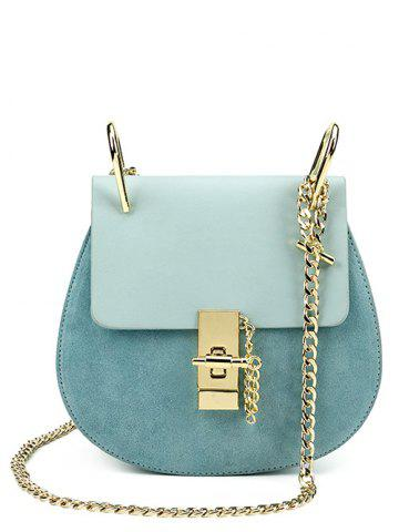 Suede Insert Chains Cross Body Bag - Blue - W15.5 Inch * L67 Inch