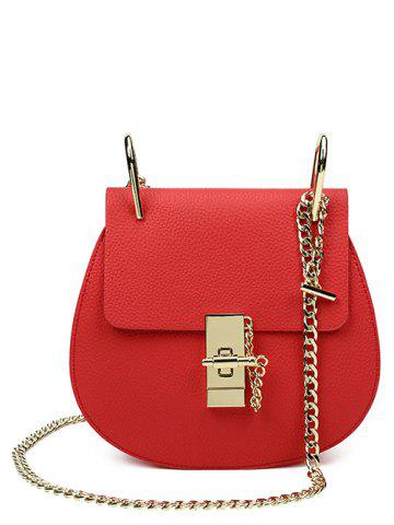 Buy PU Leather Metallic Chains Crossbody Bag RED