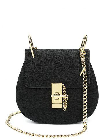 Hot PU Leather Metallic Chains Crossbody Bag BLACK
