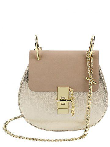 PU Leather Metallic Chains Crossbody Bag - Golden