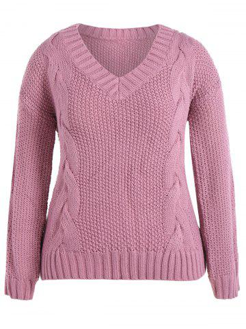 Discount Cable Knit Plus Size Pullover Sweater PINK 5XL