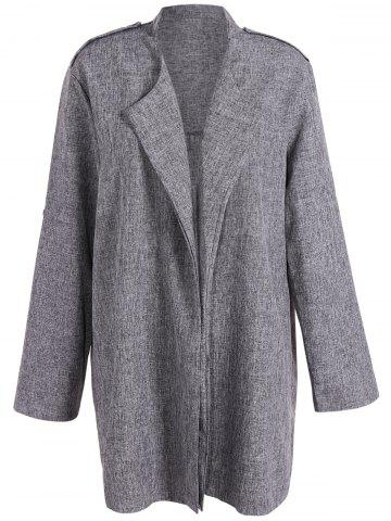Store Open Front Plus Size Lapel Coat SMOKY GRAY 5XL