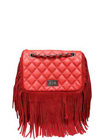 Sale PU Leather Quilted Fringe Backpack