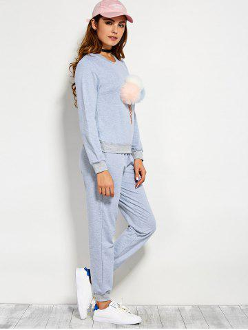Unique Pompons Pullover Sweatshirt and Running Jogger Pants - L BLUE GRAY Mobile
