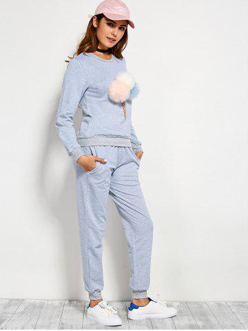 Buy Pompons Pullover Sweatshirt and Running Jogger Pants - L BLUE GRAY Mobile
