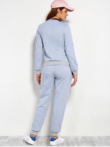 Fashion Pompons Pullover Sweatshirt and Running Jogger Pants - L BLUE GRAY Mobile