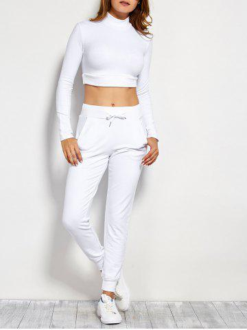 Fashion Long Sleeve Crop Top and Drawstring Pants WHITE L