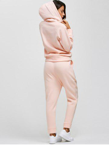 Chic Drawstring Hoodie and Pockets Pants Jogging Suit - L PINK Mobile