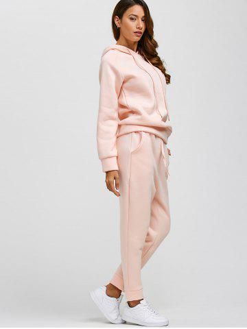 Hot Drawstring Hoodie and Pockets Pants Jogging Suit - L PINK Mobile