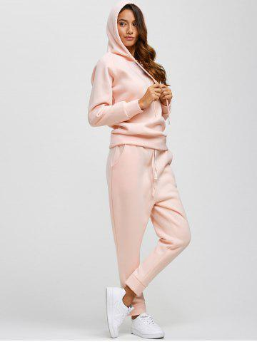 Store Drawstring Hoodie and Pockets Pants Jogging Suit - L PINK Mobile
