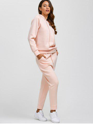 Buy Drawstring Hoodie and Pockets Pants Jogging Suit - L PINK Mobile