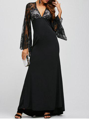 Lace Panel Sheer Long Sleeve Maxi Prom Dress - Black - S