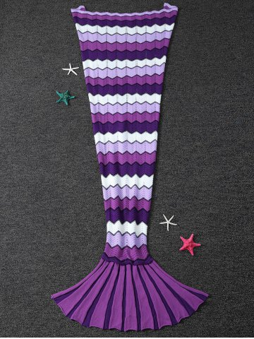 Unique Warmth Wave Pattern Knitting Mermaid Tail Blanket PURPLE L