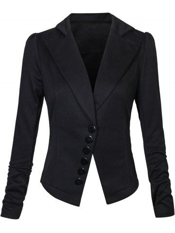 One Button Lapel Asymmetric Jacket Blazer - Black - S