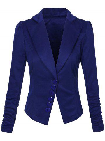 New One Button Lapel Asymmetric Jacket Blazer - M DEEP BLUE Mobile