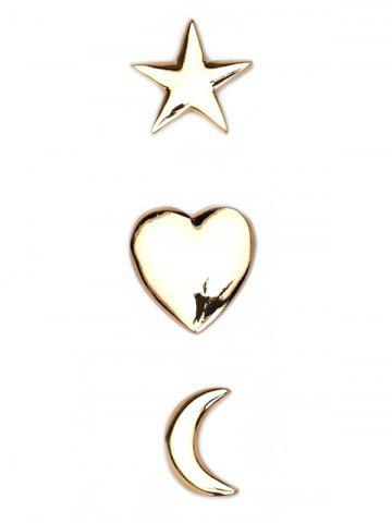 Latest 3PCS Star Moon Heart Brooch Set - GOLDEN  Mobile