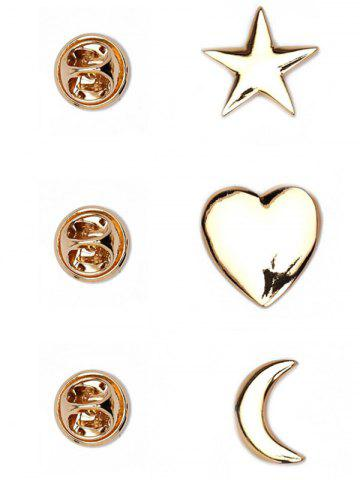Affordable 3PCS Star Moon Heart Brooch Set - GOLDEN  Mobile