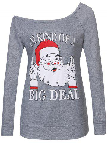 Affordable Santa Print Skew Neck Christmas Sweatshirt GRAY 2XL