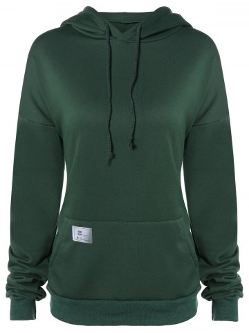Cheap Thicken Drawstring Lengthen Drop Shoulder Hoodie