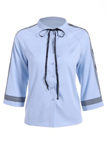 Chic Embroidered Trim Pussy Bow Chiffon Blouse