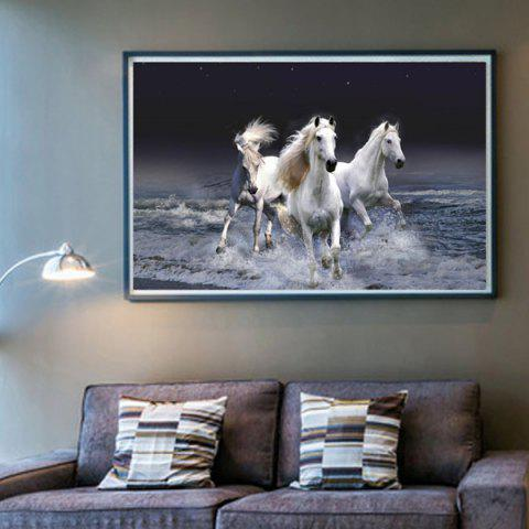 Shop DIY Beads Painting Running Horses Cross Stitch WHITE