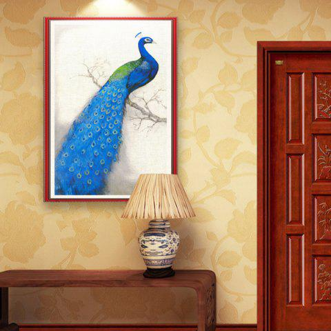 Trendy DIY Beads Painting Blue Peacock Left Cross Stitch