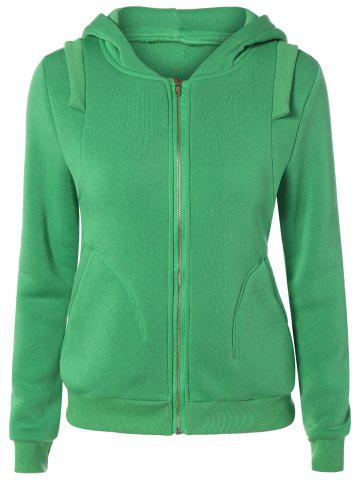 Chic Zip Up Pockets Embellished String Hoodie