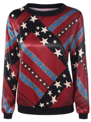 Fancy Round Neck Stars Print Pullover Sweatshirt COLORMIX XL