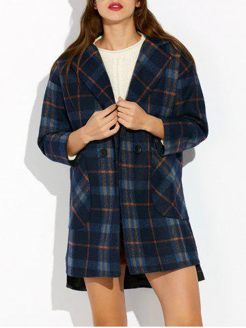 Store High Low Checked Wool Coat
