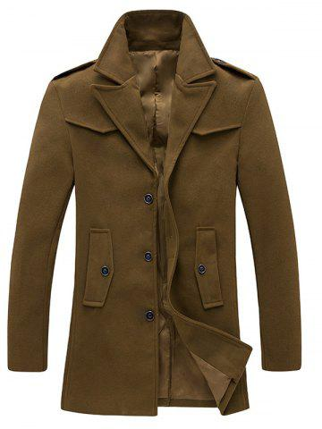 Affordable Single Breasted Pocket Epaulet Design Woolen Coat