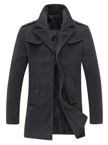 Single Breasted Pocket Epaulet Design Woolen Coat - Gray - M