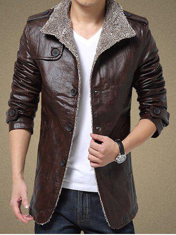 Online Faux Leather Flocking Single Bresated Jacket - 3XL COFFEE Mobile