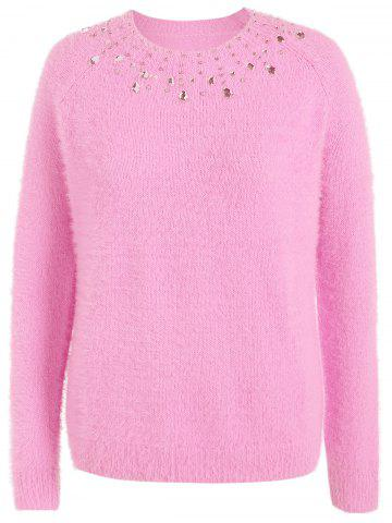 Chic Beading Raglan Sleeve Sweater LIGHT PINK 5XL