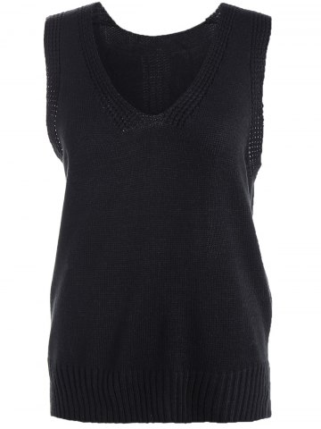 Unique High-Low Slit Sleeveless Sweater Vest BLACK 4XL